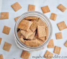 Homemade Wheat Thins.  These taste way better than store bought with none of the additives.  Easy to make too.  Use this recipe as a base to customize your own flavors.