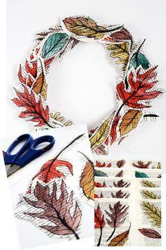newspaper leaf wreath