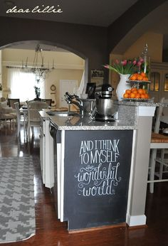chalkboard art  Dear Lillie: Our Kitchen... move trashcan and add this to the end of the island! cabinets, art quotes, chalkboard art kitchen, wonderful world, art and quotes, chalkboard walls, chalkboard paint, dear lilli, kitchen islands