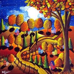 Fall Night Moon Trees Landscape Whimsical Colorful Folk Art Painting via Etsy