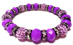 Purple Shamballa Stretch Bracelet with by IKANDiiAccessories, $40.00