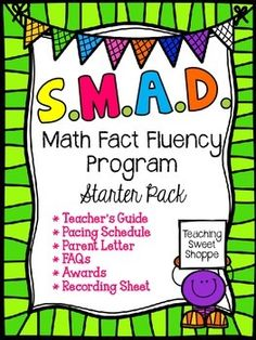 SMAD Math Fact Fluency Program *STARTER PACK*