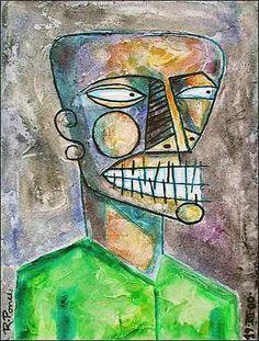 Ricardo Ponce Kunst Gefühle: Aggression Menschen: Porträt Moderne Abstrakte Kunst Art Brut