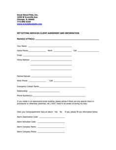 pet sitter notes template