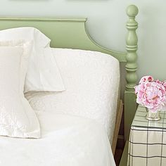 GUEST BEDROOM paint dark brown headboard (frm Travesty) this pretty green add cream and blk toile print bedding and light pink accents!!!  2012 | Rosemary Beach | Guest Bedroom | Designer: Urban Grace Interiors