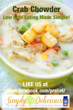 If you love chowders, this bladder friendly Crab Chowder recipe is sure to warm your spirits on a cool winters night! Enjoy!