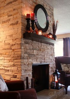 Brick to Stone Fireplace Makover by dining delight, via Flickr