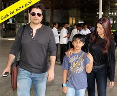Spotted: Sonali Bendre with husband Goldie Behl and son at the airport  #SonaliBendre #SonaliBendreson ##SonaliBendrehusband