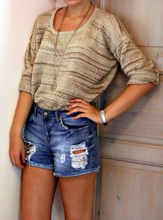 jean shorts, fashion, style, knit sweaters, high waisted shorts, summer outfits, cozy sweaters, oversized sweaters, denim shorts