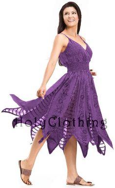 Pixie Boho Georgette Inlay Elastic Waist Zigzag Hem Sun Dress - Dresses