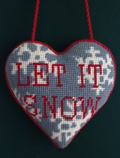 Let It Snow Needlepoint Ornament by Kirk & Bradley. Stitched by Needlepoint.com