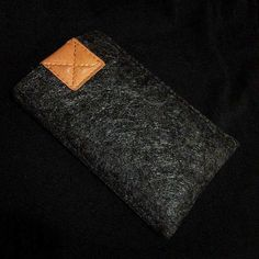 Black Wool Felt with Light Brown leather iPhone Sleeve. $12.95