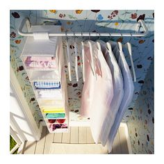 By the ironing board, or under the awning - Ikea MULIG Clothes bar Can be used anywhere in your home, even in damp areas like the bathroom and under covered balconies.