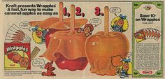 A cute Kraft Wrapples ad from 1974. #vintage #Halloween #1970s #caramel_apples
