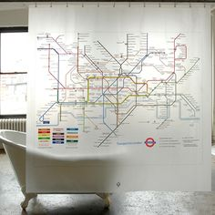 London Tube Map Shower Curtain.