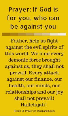 Prayer - If God is for you, who can be against you. Spiritual Warfare Prayers.