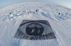 Jr : Banner made of thousand of Portraits of Savethearctic members on the North Pole #savethearctic