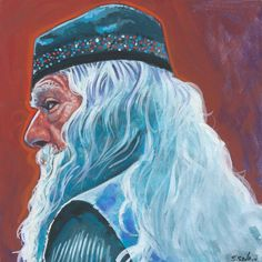 Professor Dumbledore from Harry Potter Done on 6x6 inch Aquabord with Winsor & Newton Gouache Paints
