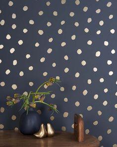New Wallpaper from Juju Papers on Design*Sponge #wallpaper #juju #dots #navy #gold #metallic