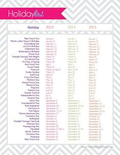 Free 2013-2015 Holiday List (Plus, Other Great Printables) From The Polka Dot Posie