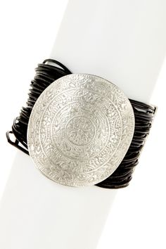Medallion Leather Cord Bracelet