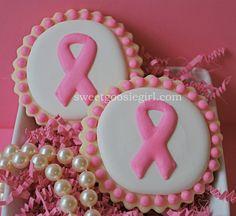 Breast Cancer Awareness Pink Ribbon Decorated Sugar Cookies (12)