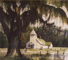 Gullah Paintings | Alfred Hutty, artist, Black Church, Work on ... | Gullah Geechee Coast