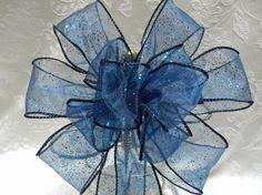 Navy Blue Glitter Wedding/ Pew Bows/ aisle by creativelycarole, $7.00
