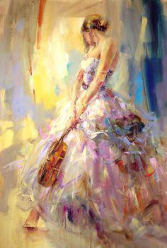 """Flirting with a Violin, 60"""" by 40"""" by Anna Razumovskaya"""