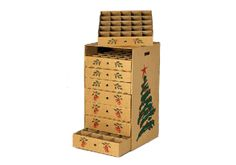 8 drawer Christmas Ornament Storage Box.   3in   AND   4in.  164 compartments total.  31 inches tall. $40