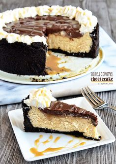 Salted Caramel Cheesecake with Chocolate Ganache recipe at TidyMom.net