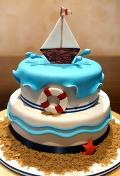 Beautiful Cake Pictures: Birthday Cake for a Little Sailor: Birthday Cakes, Colorful Cakes, Themed Cakes