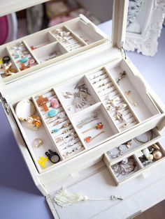 """""""This Pottery Barn jewelry box makes organizing easy. The different sections, slots, and drawers are very helpful."""""""