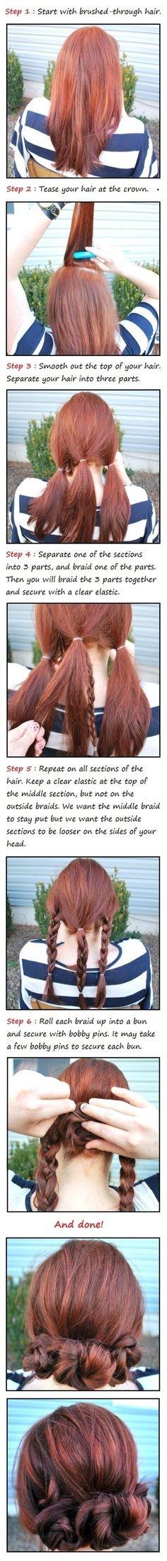 beauty tutorials, hair colors, hair tutorials, long hair, braid bun, wedding hairs, longer hair, hairstyl, three braid