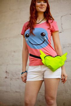 Street fashion Neon Yellow Heart shaped Fluorescent Neon Bag Belt Hip Bag Festival Flying Heart Valentines Geek Bag Hipster Style Bright Bag. $39.00, via Etsy.