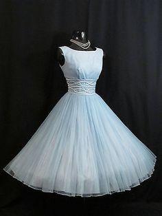 Vintage 1950's 50s Blue Chiffon Organza Satin Ribbon Party Prom Wedding Dress