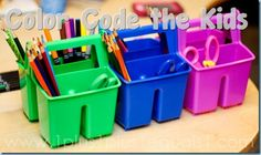 Color Coded Homeschool Supplies  Color coding would work for a variety of organization for kids anywhere.