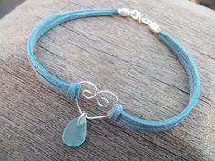 Sea glass jewelry  Pretty piece of blue sea