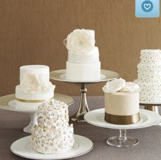 Multiple Wedding Cakes instead of just one stacked one! - love that each individual looks like a wedding cake, just smaller. the knot, idea, mini wedding, weddings, wedding cakes, minis, cake display, small cakes, mini cakes