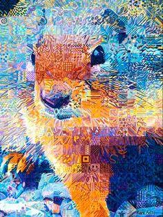 "Watercolor ""squirrel"" quilt"