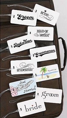 """Bridal Party Luggage Tags    Luggage tags with clear strap, rounded corners, fun designs for the entire Bridal Party including: Bride, Groom, Maid of Honor, Best Man, and Groomsman. Fill-in-the-blank address card that slips into a clear sleeve on the reverse side for your perfect ID luggage tag solution. Tag size: 4 1/2"""" x 2 1/4""""."""