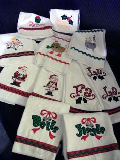 Christmas towels with machine embroidery designs.