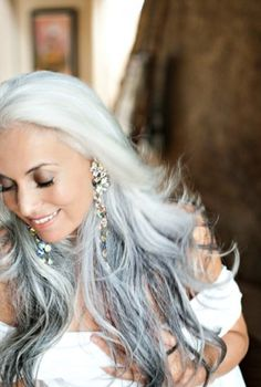 Yasmina Rossi, incredibly beautiful gray hair. I think I am going to rock this look when I turn all gray!