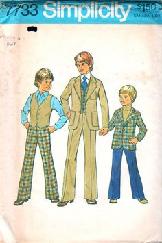 Simplicity 7733 1970s BOYS Pants Vest and Jacket  childs vintage sewing pattern by mbchills