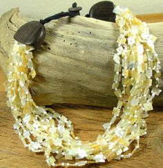 Vintage Mother of Pearl Necklace Multi Strand by GreenDesertArt, $25.00