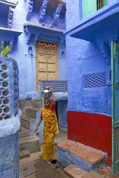 desert, blue street, color blue, city streets, india, architecture, accent colors, blues, the roots