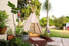 backyard teepee over sandbox