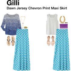 """Dawn Jersey Chevron Print Maxi Skirt"""