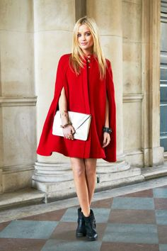 A fire-red cape. Retro inspired street style.