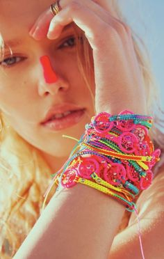 Bracelets. (Electric Festival Style With UD.) #neon #bright #colors #blacklight
